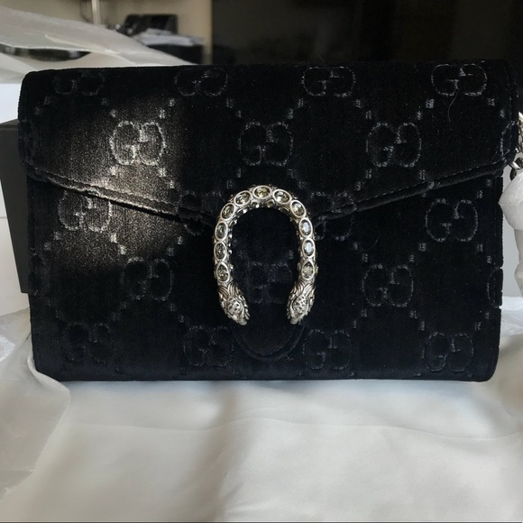 23ffff1ec28 New Gucci Dionysus Velvet Black Wallet on Chain